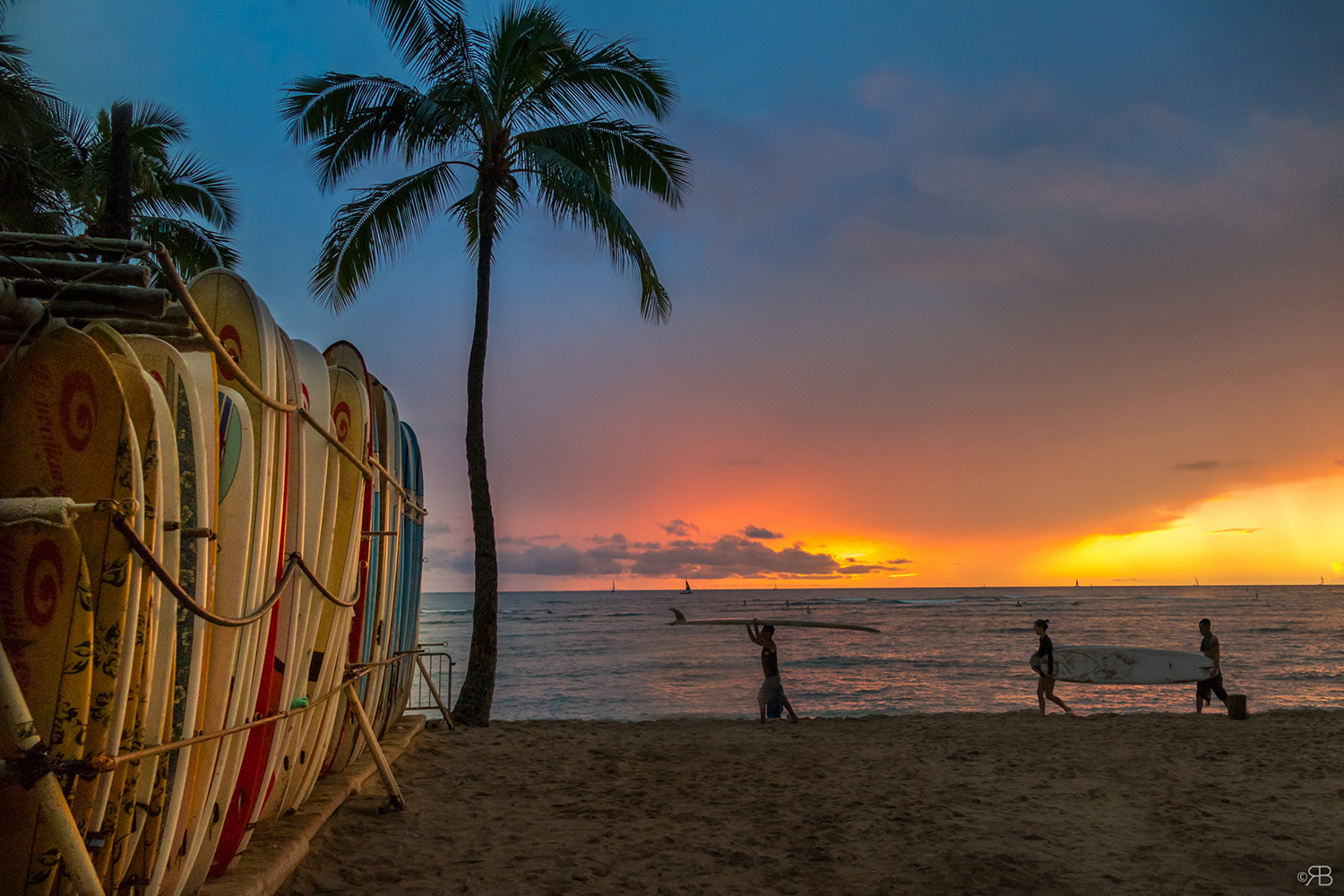 sunset surf waikiki hawaii